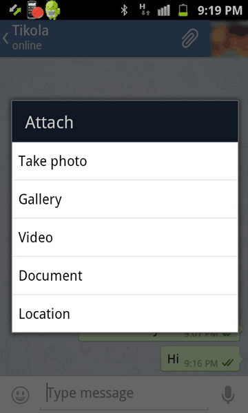 Attach photos and other files in Telegram for Android