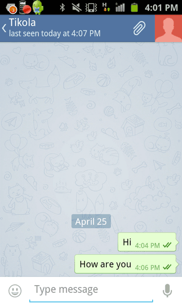 Chat window in Telegram