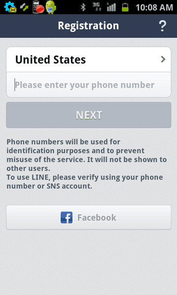 Select country and phone number in Line on Android