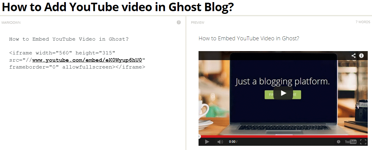 Embed YouTube video in Ghost blog post