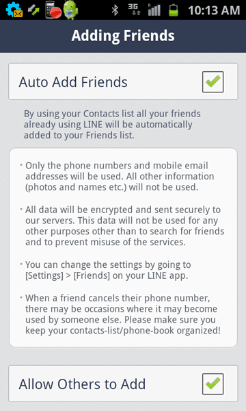Settings for auto add friends in Line app