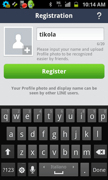 Enter name and upload photo in Line on Android