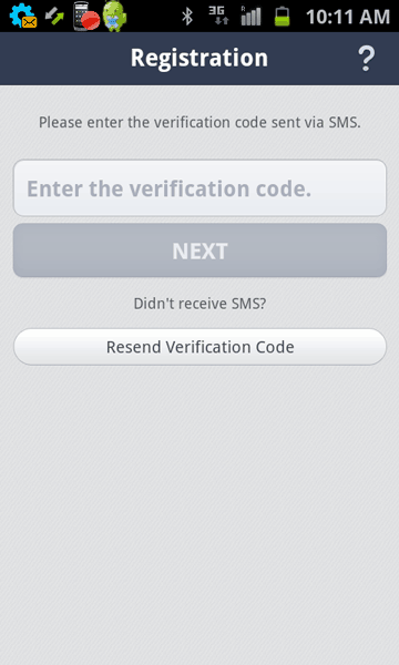 SMS verification in Line on Android