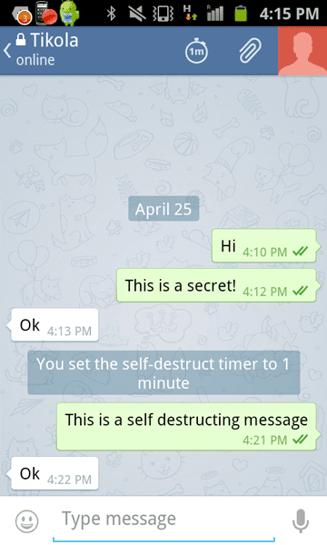 Telegram self-destructing messages in secret chat