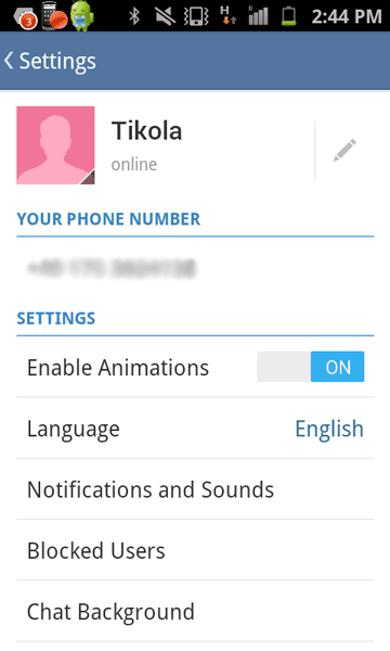 Telegram settings in Android devices