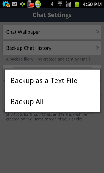 Line chat history backup options