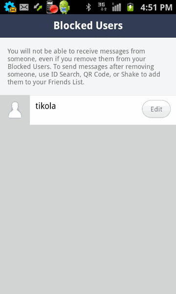 blocked users list in Line app on Android