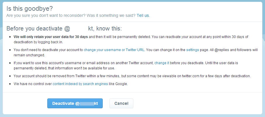 Information about deactivating your Twitter account