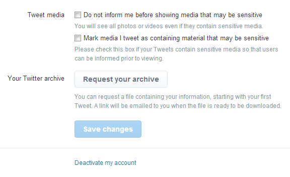Deactivate your account in Twitter account settings page