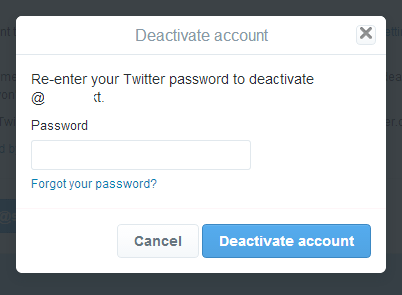 Enter your password to finally deactivate your Twitter account