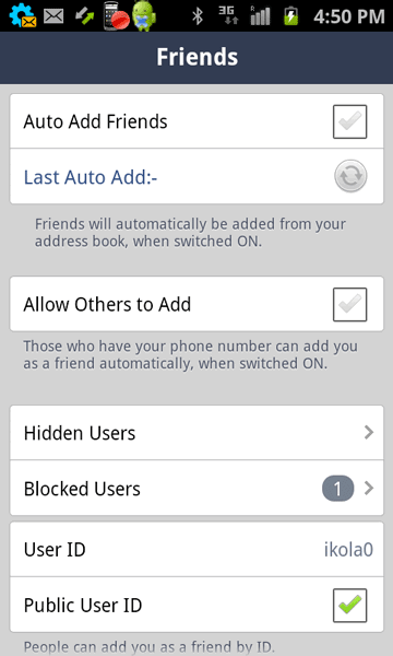 Tap on Blocked Users