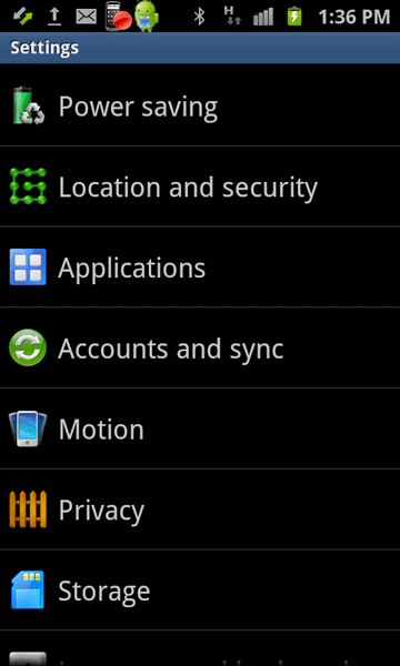 Tap on Applications in Android Settings