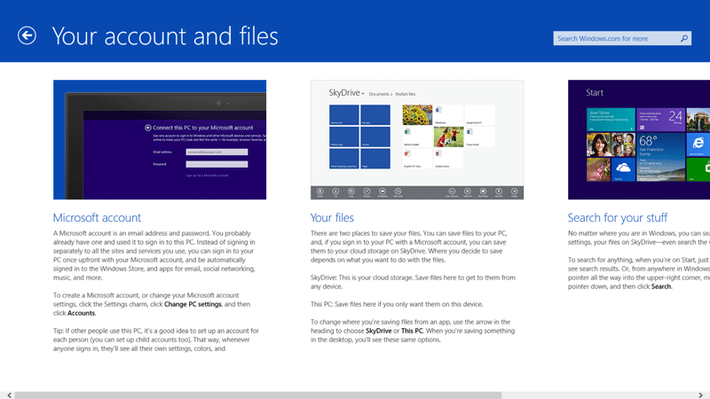Windows 8.1 Account and Files