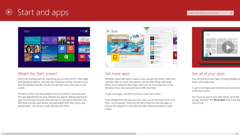 Windows 8.1 Start and Apps