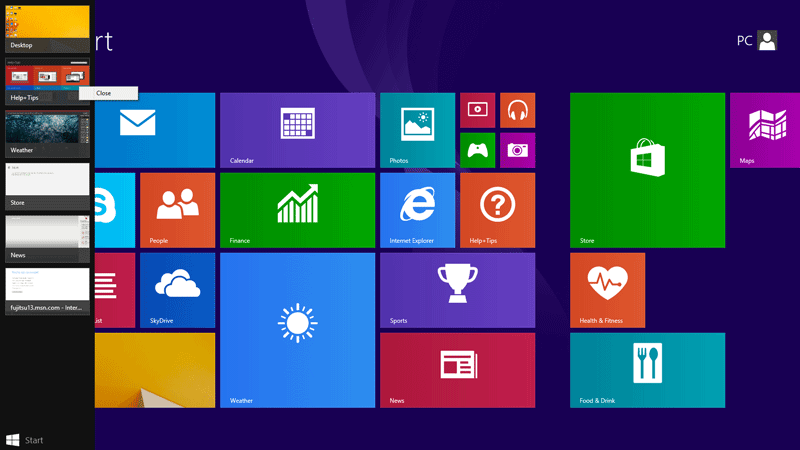 Right click on the app and click close to close app on Windows 8.1