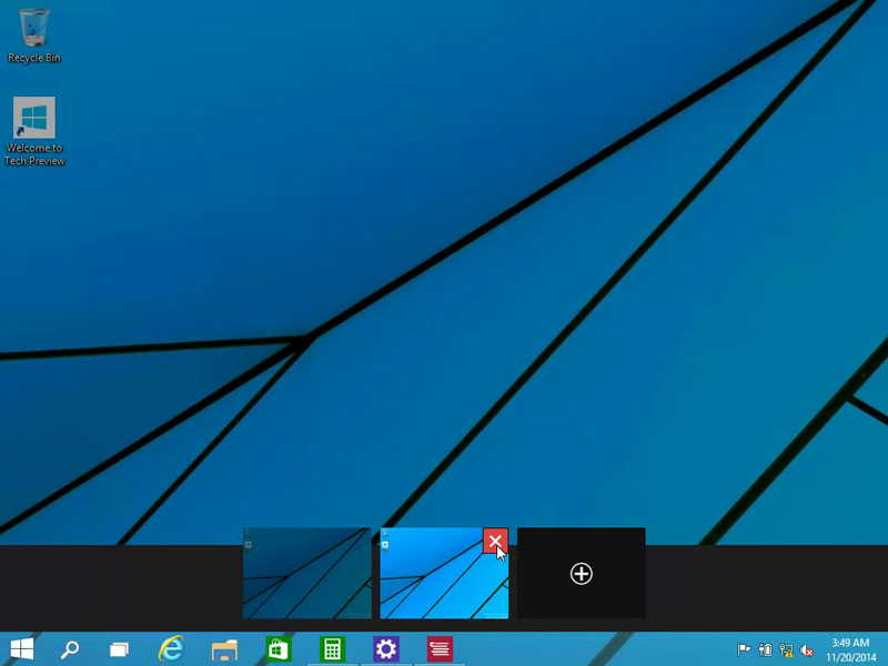 Closing Virtual desktops in Windows 10 - Click on X at the top-right