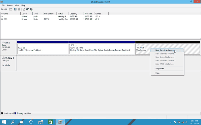 Right-click on the Unallocated space and select New Simple Volume to make a new partition in Windows 10