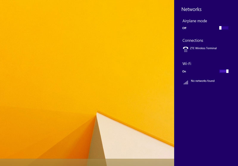 Wi-Fi enabled in Windows 8
