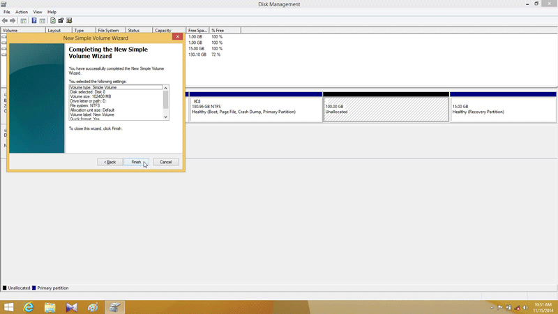 Click Finish to complete partitioning hard drive in Windows 8.1