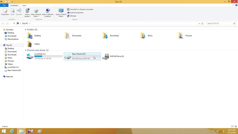 After partition new D: drive in Windows 8.1