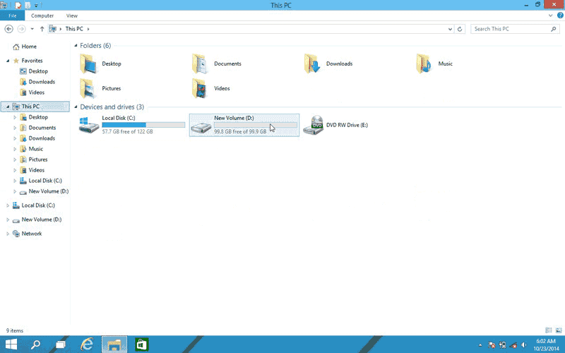New drive partition in Windows 10