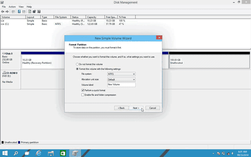 Click Next to format the new partition with NTFS in Windows 10