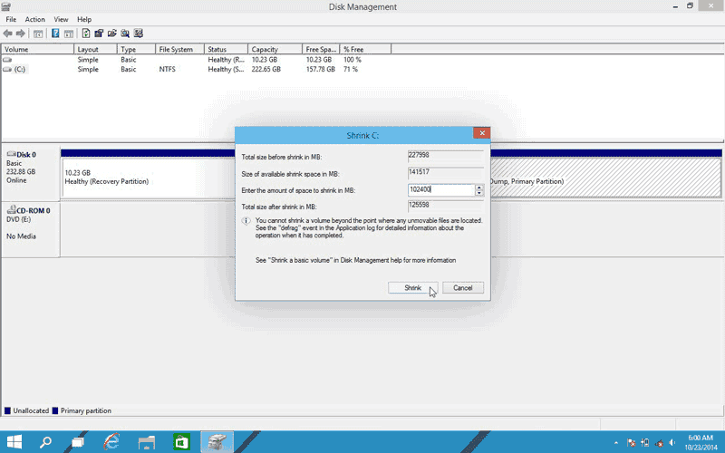 Enter shrink amount in MB create hard disk space for a new partition in Windows 10