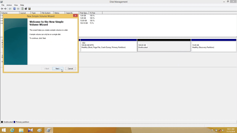 New Simple Volume Wizard to partition hard drive in Windows 8.1