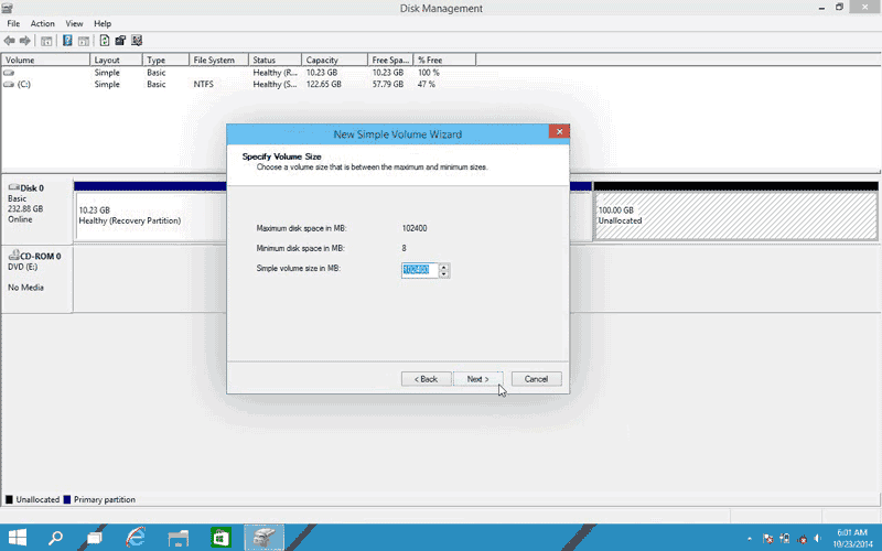 Specify volume size or leave the default value of Volume size for the new partition in Windows 10