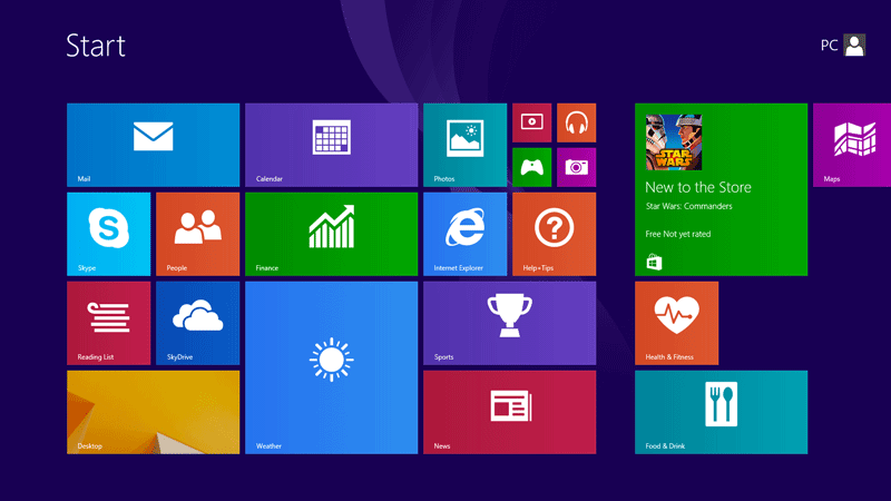 Desktop tile at bottom-left on the Start screen of Windows 8 and 8.1