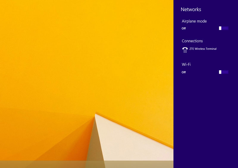 Wi-Fi enabling panel slides in Windows 8