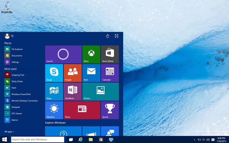 Start menu - Windows 10 minimum requirements