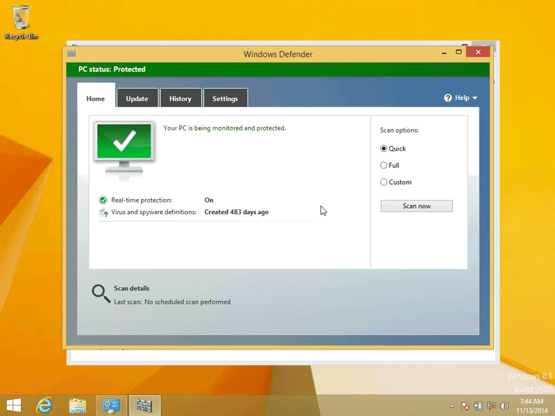 Windows Defender is now turned on in Windows 8.1