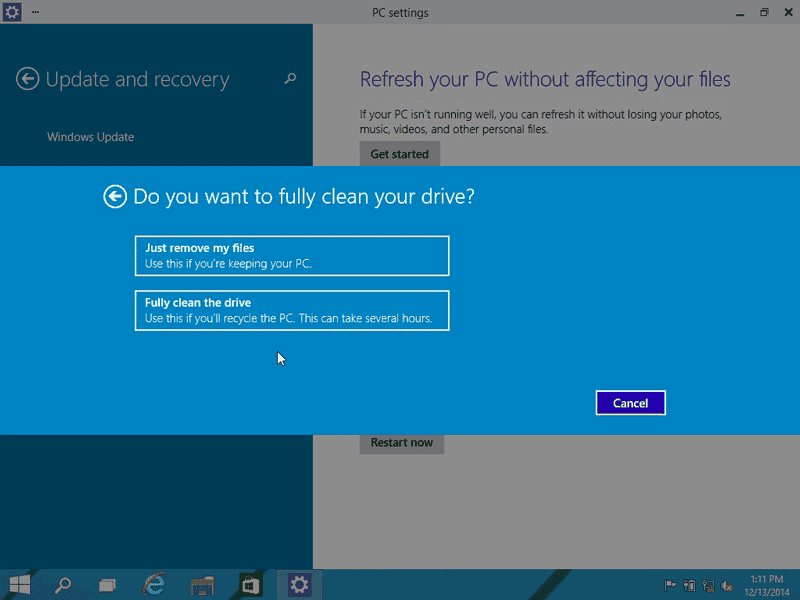 Just remove your files or fully clean the drive while restoring Windows 10 to factory settings