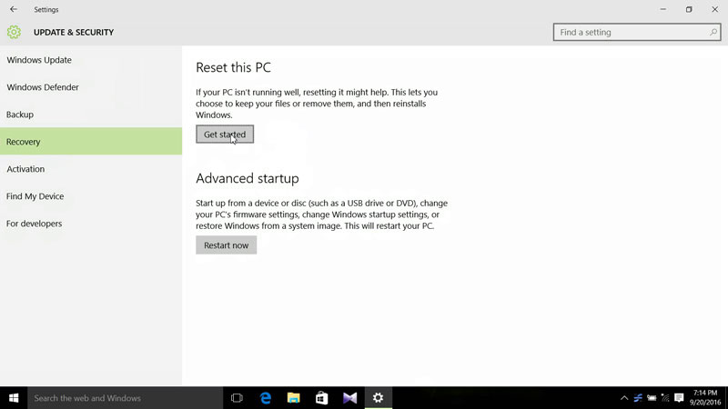 Click Get started to start the factory resetting process in Windows 10