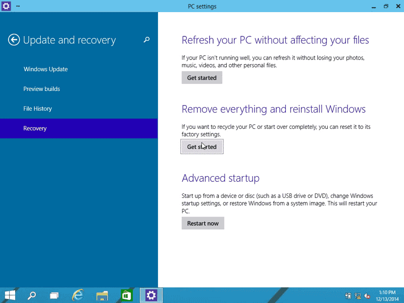 Click on Get started to start factory resetting process in Windows 10
