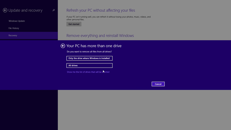 Choose the drives you want to factory reset in Windows 8.1