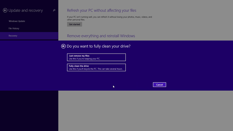 Choose how you want to clean drives - How to factory reset Windows 8.1