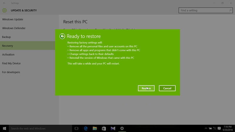 Click Restore to Factory Restore Windows 10