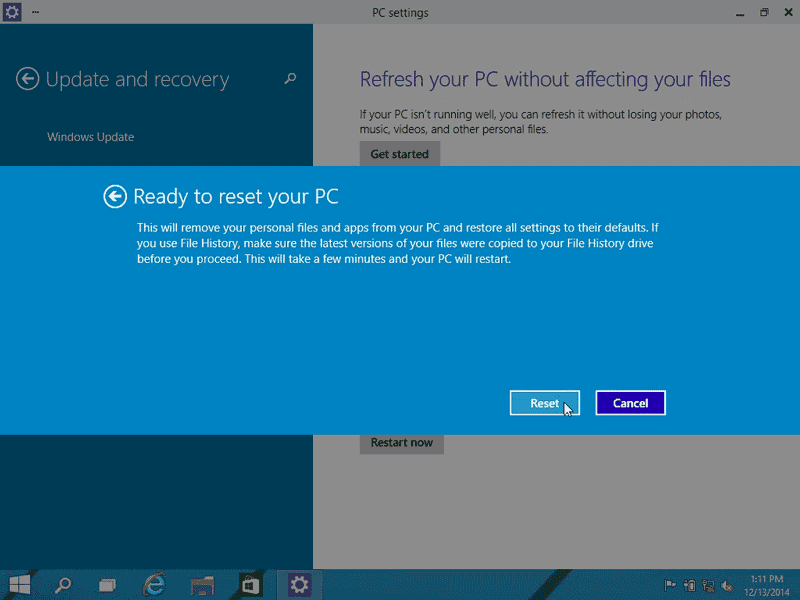 Click Reset to start factory reset process in Windows 10
