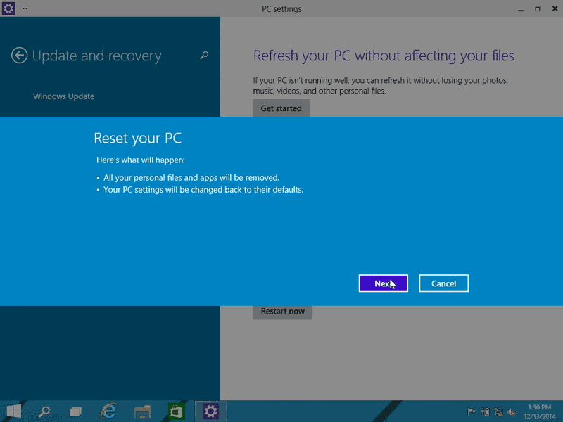 Click Next to start restoring Windows 10 to factory settings