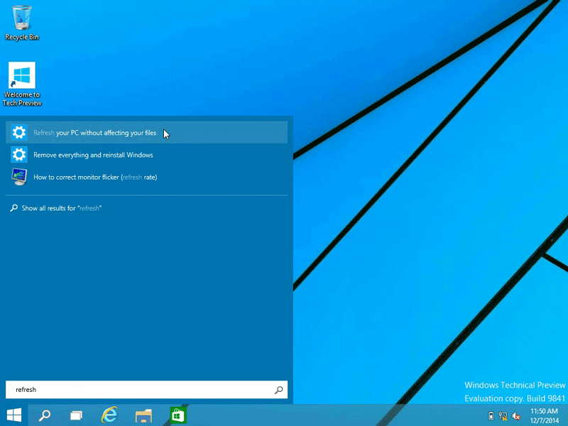 Refresh Windows 10 without affecting your files