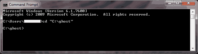 command prompt working directory ghost