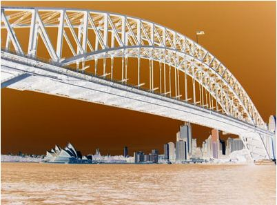 sydney harbour bridge with colors inverted