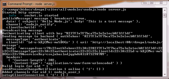 message logs in command prompt