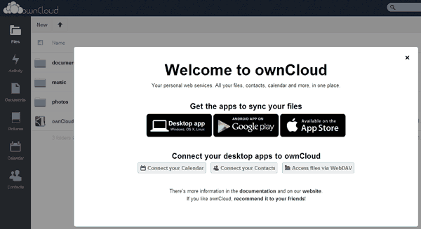owncloud installed successfully
