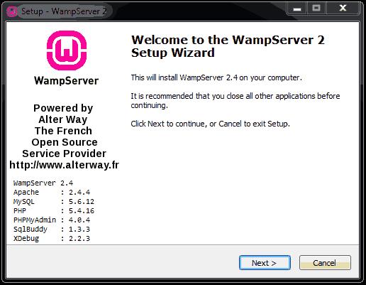 wamp setup wizard