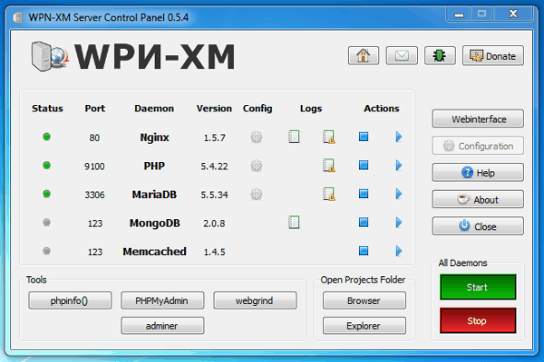 wpn-xm control panel