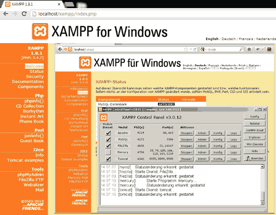 phpMyAdmin link in XAMPP under the Tools section