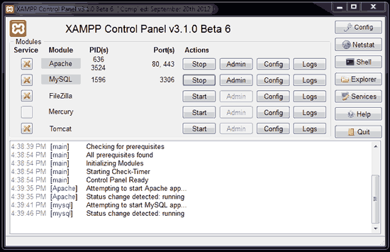xampp control panel running apache & mysql
